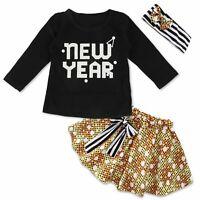 3PCS/Set Newborn Infant Baby Girls Outfits Clothes T-shirt Tops+Tutu Dress Skirt