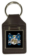 Donaldson Family Crest Surname Coat Of Arms Brown Leather Keyring Engraved