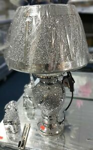 Crushed Diamond Silver LED Vase Lamp glitter Table Lamp Shade with free Led bulb
