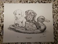 """Partners In Crime"" by Jim Tostrud Pencil Print Signed & Numbered Duck Hunting"