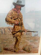 Joe Grandee Framed Picture Print Vintage Western Desert 10 x 14 Wood Frame Used