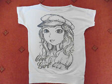 Girl's Miss Cherokee white and grey short sleeved t-shirt, Age 8/9