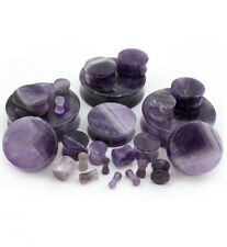 PAIR-Stone Amethyst Saddle Flare Ear Plugs 08mm/0 Gauge Body Jewelry