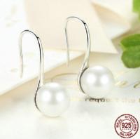 925 Sterling Silver Elegant Round Pure Love Pearl Drop Earrings Charm pandora