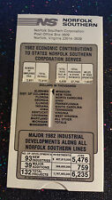 (4)NOS N&W Norfolk Southern Corporation Slide-Chart 1982 Economic Contributions