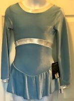 GK LgSLV BLUE VELVET CHILD LARGE SILVER SHIMMER ICE FIGURE SKATE DRESS Sz CL NWT