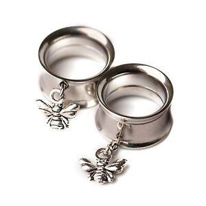 Silver Mini Bee Screw-Fit Dangle Tunnel Ear Plug 6mm - 25mm