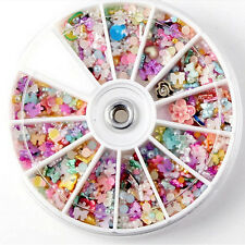 1200Pcs Fashion Nail Art Tips Fimo Decor Pearl Flower Slice Rhinestone Wheel New
