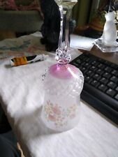 hand held crystal bell, clear, frosted, purple, pink flowers