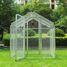 Large Iron Bird Cage Gentle Animals House Pet Parrots Poultry Walk in Aviary New