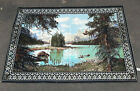 """Vintage Cotton Tapestry Wall Hanging 38x56"""" A.T.C New York Turkey Mountain Lake"""