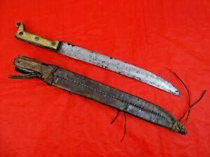 NICE ANTIQUE MEXICAN MACHETE ORIGINAL LEATHER SCABBARD dagger sword knife blade