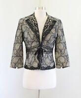 Alberto Makali Beige Black Paisley Mesh Lace Overlay Blazer Jacket Size 4 Tie