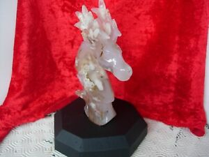 agate stag head carving on hardwood base
