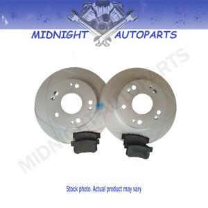 2 Rear Slotted Disc Brake Rotors + Ceramic Brake Pads for VW Jetta, Rabbit, Audi