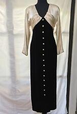 Oscar De La Renta Black Velvet & Cream Satin Gown S / M