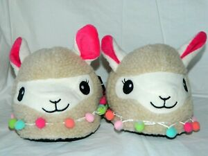 Llama Slippers With Pompoms Women's Ladies Size S 5-6, M 7-8,  L 9-10