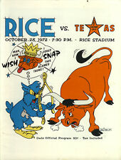 1972 Rice Owls v Texas Longhorns Program