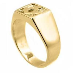 Masonic Signet Ring (Free Mason Mans Solid 9ct Yellow Gold  - Finger Size P to W