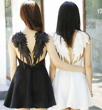 BM40 BLACK DARK ANGEL MALEFICENT WINGS DRESS LOLITA GOTHIC Swan BACKLESS wedding