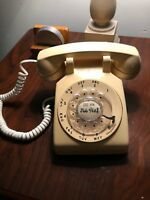 Vintage Beige WESTERN ELECTRIC 500DM Desk Rotary Dial Phone Cream TESTED WORKING