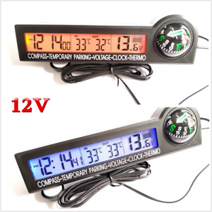 12V Mulitifunction Digital Clock Compass&Thermometer& Voltage Meter For Car Boat