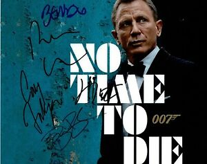 No Time To Die SIGNED 11X14 Photo Cast Photo by 5 James Bond AFTAL COA