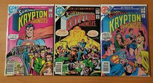 Superman: Krypton Chronicles 1-3 Complete Set Run! ~ NEAR MINT NM ~ 1982 DC