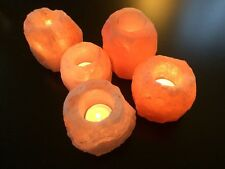 4 Himalayan Salt Candle Holder Tea Light Natural Rock Handmade Craft Orange Pink