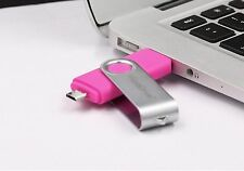 Pink 16GB USB 2.0 and micro usb Flash Pen Drive Memory Stick Rotary Thumb Key