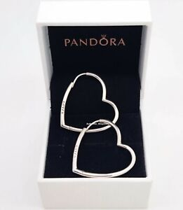 New 100%  PANDORA 925 Silver Asymmetrical Heart Shape Hoop Earrings 297822