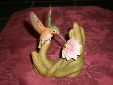 "1996 Bronson Collectibles Rufous Hummingbird w/ Cactus Porcelain 4.5"" Figurine"
