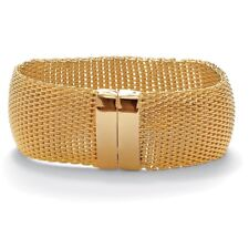 Gold Tone Wide Mesh Bangle Bracelet 8""