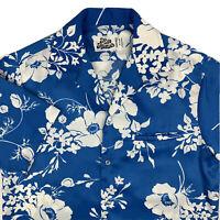 VTG Hilo Hattie Hawaiian Camp Shirt Mens Small Aloha Floral Blue White