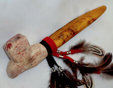 """7"""" Red and White Marbled Peace Pipe, Apache Made Peacepipe"""