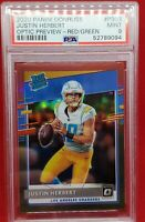 2020 Donruss Optic Red Green Prizm #P303 Justin Herbert RC Rookie Chargers PSA 9