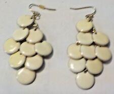 Vintage Cream Enamel & Gold Tone Discs Chandelier Pierced Earrings