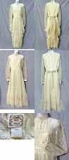 Romantic Vtg 70s GUNNE SAX Ivory Lace Victorian Boho Maxi Dress Bridal Gown (M)