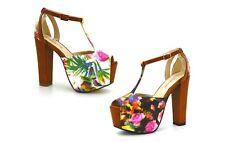 Scarpe sandali donna floreali con tacco alto e plateau decolte estive a fiori
