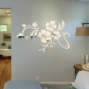 Flower 3D Mirror Wall Stickers Removable Decal Art Mural Fashion Home Decor