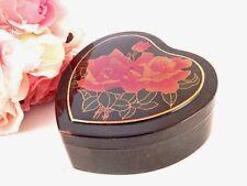 Trinket Box Black Heart Asian Floral Pink Rose Jewelry Storage Dresser Top Box