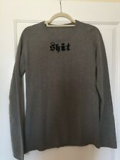 "Lucien pellat finet Mens Cashmere Grey Sweater ""Sh*t"" Logo Medium"