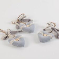 """CUORE """"1 pezzo""""cm.8 cuoricino grigio cotone stoffa decorazione Shabby"""