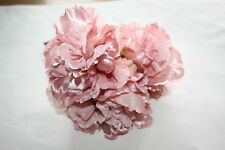 3 x LUXURY VINTAGE PINK SILK & SHEER OPEN FRILLED PEONY FLOWERS 9cm