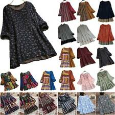 Plus Size Women Loose Casual Floral T-Shirt Ladies Blouse Tunic Long Sleeve Tops