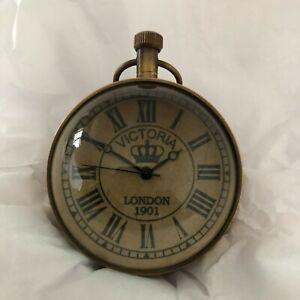 brass magnified clock men's gift