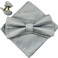 (A5)Silver Grey Men Bow Tie Matching Bowtie Cufflinks Hanky Satin Silk Tie Set