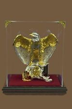 American Bald Eagle 24KT GOLD & SILVER Plated Bronze Statue Sculpture Glass Case