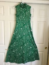 Women's Vntg Full Length Dress 60's Double Knit EmeraldGreen Floral No Sz Shiny