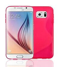 Premium Color De Rosa Caliente De Silicona Gel S-line Wave Diseño Funda Protectora Para Samsung S6